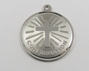 Confirmation with Cross in Center Sterling Silver Charm or Pendant.