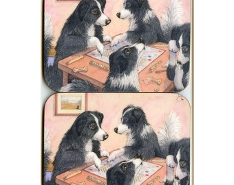 2 x Border Collie dog Scrabble coasters tiles letters words sheepdogs playing a board game from Susan Alison watercolor painting