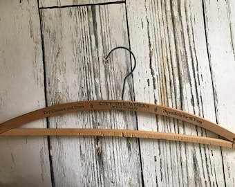 Vintage Wood Hanger, Vintage Wood Hanger from the 30s , City Dye Works Dry Cleaners Hanger