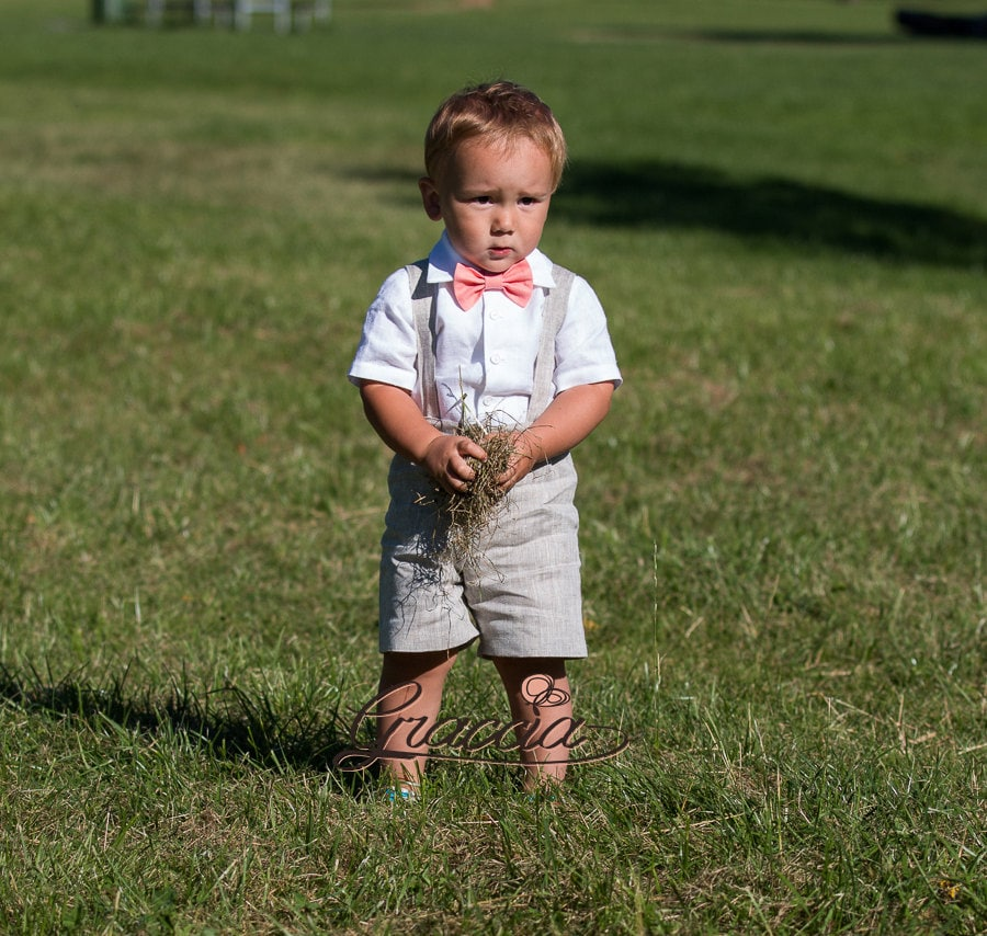 Ring bearer outfit Baby boy shorts with suspenders First