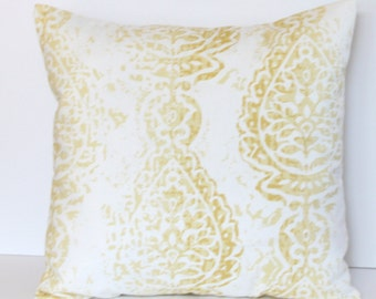 Faded Yellow Damask on White Pillow Cover- Yellow and White Decorative Couch Pillow 18x18- Ready to Ship