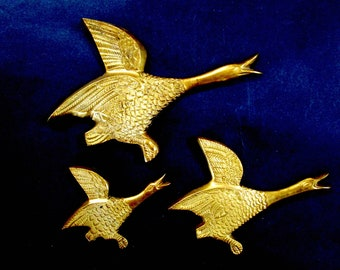 Brass Ducks Wall Decor, Set of 3, Flying Ducks, Flying Geese, Lodge or Cabin Decor, Excellent Condition