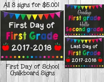 First/Last Day of School Chalkboard Signs Digital File