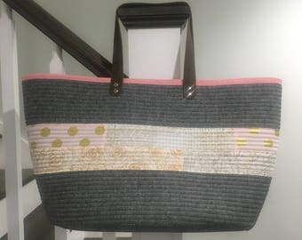 Large Market Tote Grey Linen Metallic Pink Leather Straps