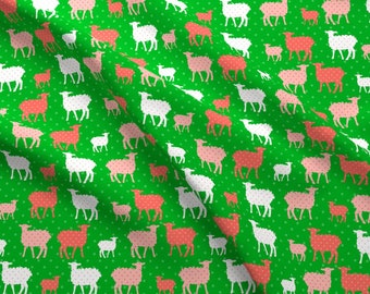 Polka Dot Lambs Fabric - Modern Whimsy Lambs Green Pink By Lauriewisbrun - Lambs Polka Dot Animal Cotton Fabric By The Yard With Spoonflower