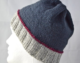 Wool Watch Cap for Teens and Adults, Warm Winter Hat, Unisex Winter Beanie, Gray and Maroon, Hand Knit
