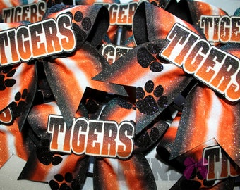 Gorgeous Tiger Pawprint glitter Ombre  Cheer Bow  by FunBows !- also customize it !