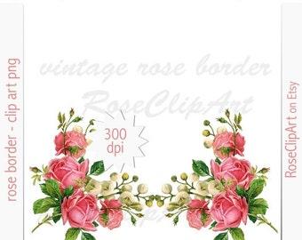 Digital Rose Border Clip Art