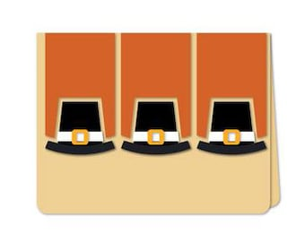 Pilgrim Hats Card , Thanksgiving , Thanks  , Family , Friends , Co-workers , Blank Inside