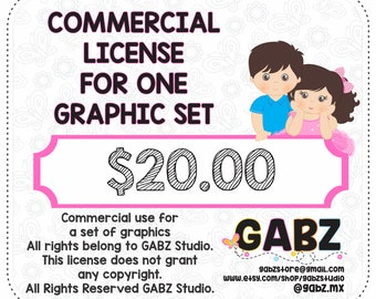 Extended Commercial Use For One Graphic Set, Not available for use of discount coupons, Gabz