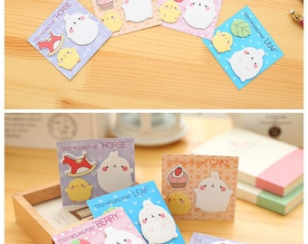 Set of 4 Sticky Notes : MOLANG Pig Rabbit Kawaii Cartoon - Sticky Bookmarks & Memo Set, Korean Planner Memo Pads / Decoration, Stationery