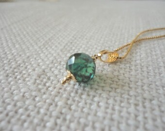 Diamond Solitaire necklace / 14k gold filled necklace / fancy green diamond / colored diamond /  gold chain necklaces / Genuine Diamond Bead