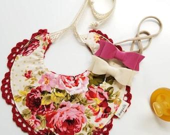 Baby Bibs, Baby Girl Crochet Bib, reversible, Vanaguelite baby Bibs, Handmade Crochet bib, Drool bibs, red floral