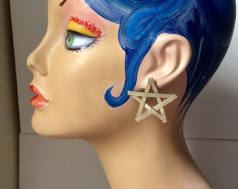 Metallic Gold Star Statement Earrings