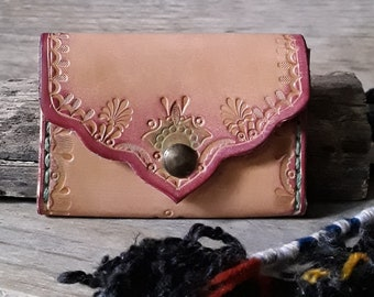 Slim Wallet - Credit Card Leather Holder - Hand Tooled Leather Coin Purse - Coin Holder - Leather Coin Holder - Small Card Holder
