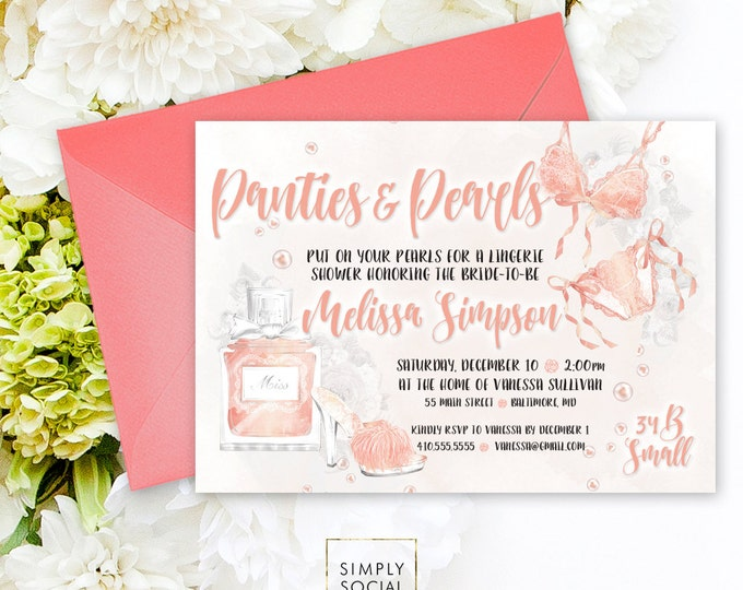 Lingerie Bridal Shower Invitation - Panties and Pearls Blushing Bride Bra Panty Panties Peony Blush Boho Watercolor Printable Party Invite