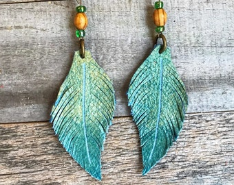 Leather earrings, Leather Feather earrings, Southwestern jewelry, Hand-dyed leather earrings, Turquoise earrings m, Bohemian earrings,