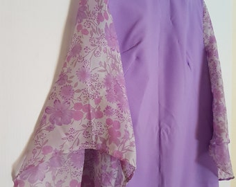 Vintage 1970s lilac purple mauve maxi dress with floral sheer sleeves