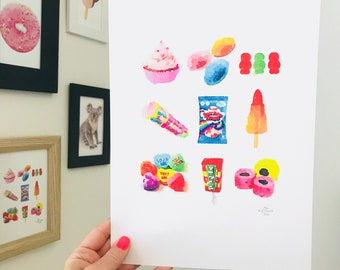 Iconic British Sweets Print - A4 Size Designed and Printed in Australia.