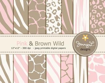 Pink and Brown Animal Print Digital papers, Baby Girl Safari, Zebra, Tiger, Giraffe, Leopard Print for Digital Scrapbooking, Wild Safari