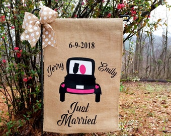 Just Married Flag , Wedding Date , Wedding Flags , Bride And Groom Flag, Personalized Wedding Gifts