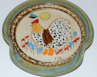 Pottery Spoon Rest Stoneware / Chicken