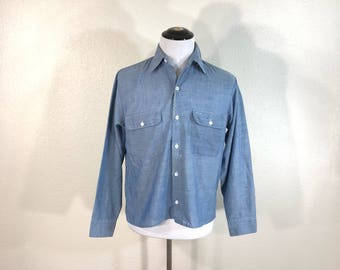 70's vintage big mac 50/50 blend chambray shirt with a cool paint work wear
