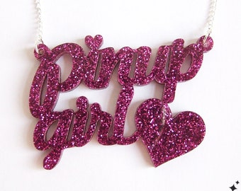 Pin Up Girl Necklace - Rockabilly Glitter Pink acrylic pinup necklace