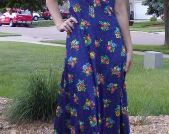 VINTAGE yves jennet MAXI DRESS blue with floral print 60's 70's M L