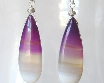 Long Purple Banded Chalcedony Sterling Silver Earrings