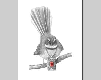 Fantail with Ruby Pendant