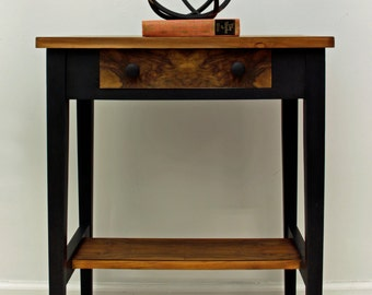SOLD Vintage Flame Mahogany, Hand Painted Side Table, End Table,  Night Stand