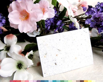 20 White Seed Paper Place Cards - 4 x 2.5 inches - Tent Style Place Cards or Flat - Green Wedding - Flower Seed Paper Seating Cards