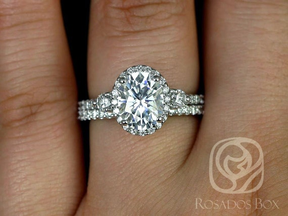 Rosados Box Natalia 9x7mm 14kt White Gold Oval F1- Moissanite and Diamonds Halo Classic Wedding Set