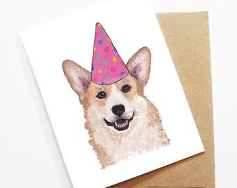 Birthday Card - Corgi, Dog Birthday Card, Cute Birthday Card, Dog Card, Bday Card, Kids Birthday Card, Friend Birthday Card