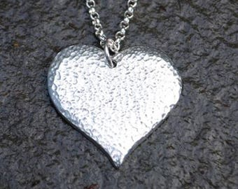 Textured Heart Pewter Pendant