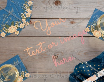 Mockup Bridal Shower Invitation or Announcement | Digital File | Stock Mock Up Invite Photography | Wood Background and Blue Overhead Table