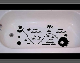 Non Skid Decal For Bathtub, Shower Treasure Map