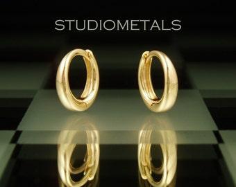 Small Gold Hoops, 18K Gold Huggies, Comfortable Earrings