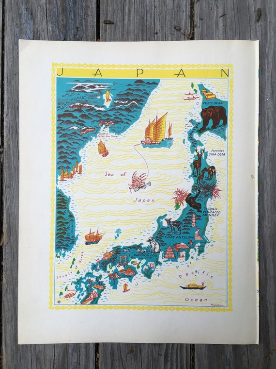 Items similar to japan map art animal map nursery decor map of items similar to japan map art animal map nursery decor map of japan vintage map wall art world map print nursery map for kids pictorial book page gumiabroncs Image collections