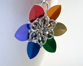 ON SALE True Colors Rainbow Pride Scale Flower Necklace