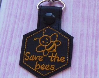 Save the bees - snap tab In the hoop Machine Embroidery Design. Bee Key Fob Embroidery file. Instant download.