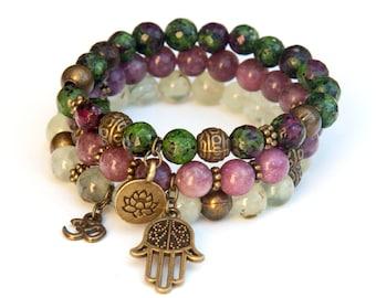 Stacking bracelets, boho bracelet set, prehnite bracelet, pink lepidolite bracelet, ruby in zoisite bracelet, gemstone bracelet set, charms