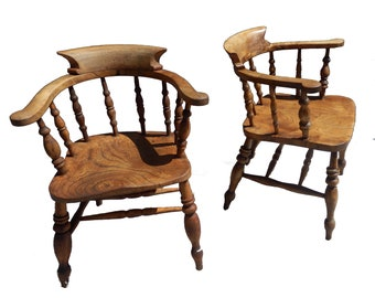 Pair of Antique Elm & Beech Rustic Smokers Bow Captains Chair