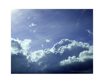 Cloud Photography, Bedroom Art, Peaceful Art, Minimalist Art, Nature Photography, Large Blue Art, Indigo Blue Art, Home Decor Photography