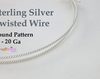 925 Sterling Silver Twisted Wire, 6 8 10 12 14 16 18 20 Gauge, Round Pattern, Dead Soft, 6 in, 1 5 10 Feet, Jewelry Craft Twist