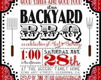 5 x 7 inch Backyard Barbecue (BBQ) Invitation