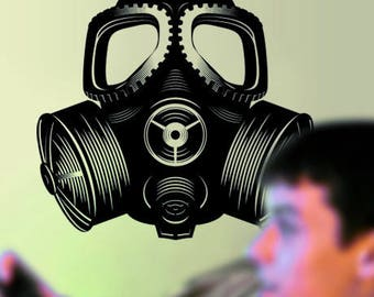 Gas Mask Biohazard Wall Decal Radioactive Cosplay Toxic Military Hazardous Nuclear Zombie Gothic Steampunk Gamer Hero War by Blazing Vault