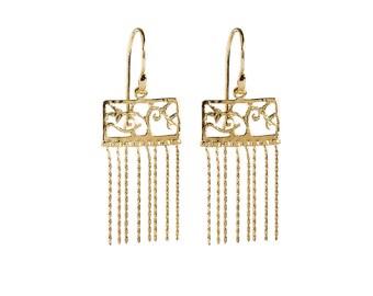 Arabesque Earrings, Brass Plated 18K Gold Dangle Earrings,Filigree Earrings, Gold Earrings.