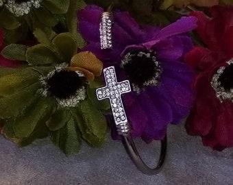 Rhinestone Cross Cuff Bracelet, Silver Rhinestone, Split Cross Style, Unique Style, Rhinestone, Cuff Style Bracelet, Newer Vintage